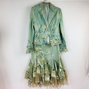 ROSSI ROMA Woman Denim Skirt Suit  Beaded Lace
